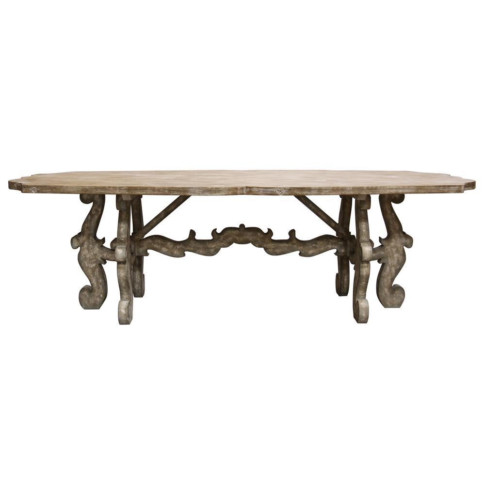 French country rustic scroll farmhouse dining table for Table th no scroll