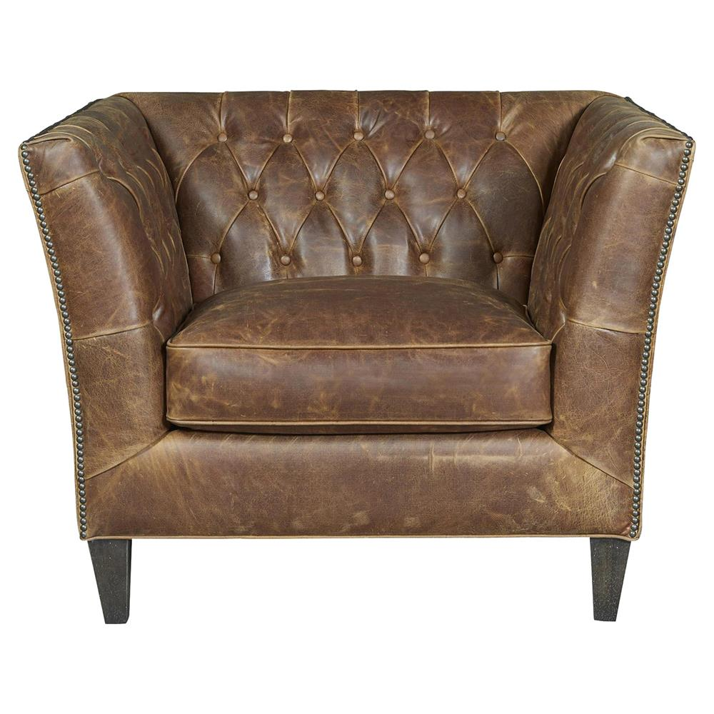 Tan Leather Accent Chair: Denver Industrial Brown Leather Tufted Nailhead Trim