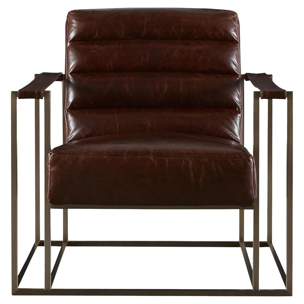 Jordan Industrial Loft Brown Leather Upholstered Brass