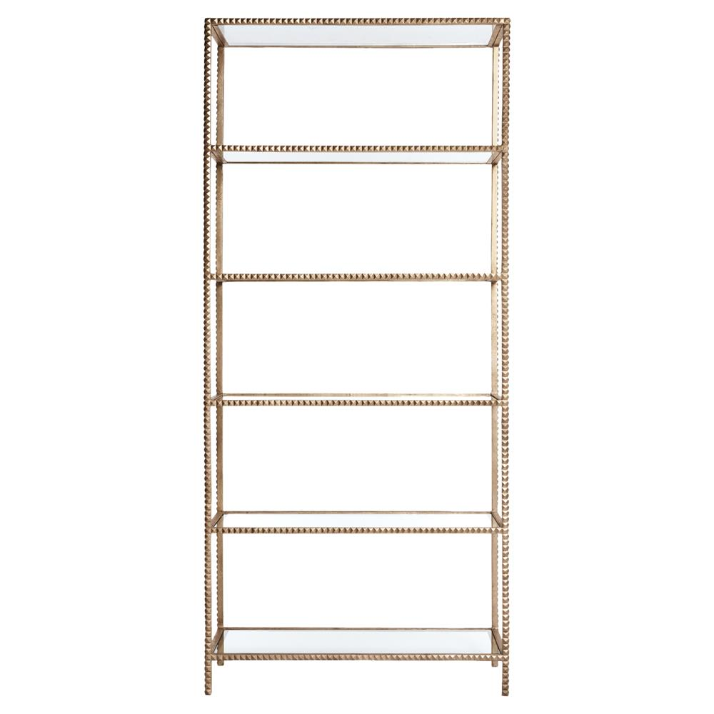 tall modern gold stud edged etagere display bookcase. Black Bedroom Furniture Sets. Home Design Ideas