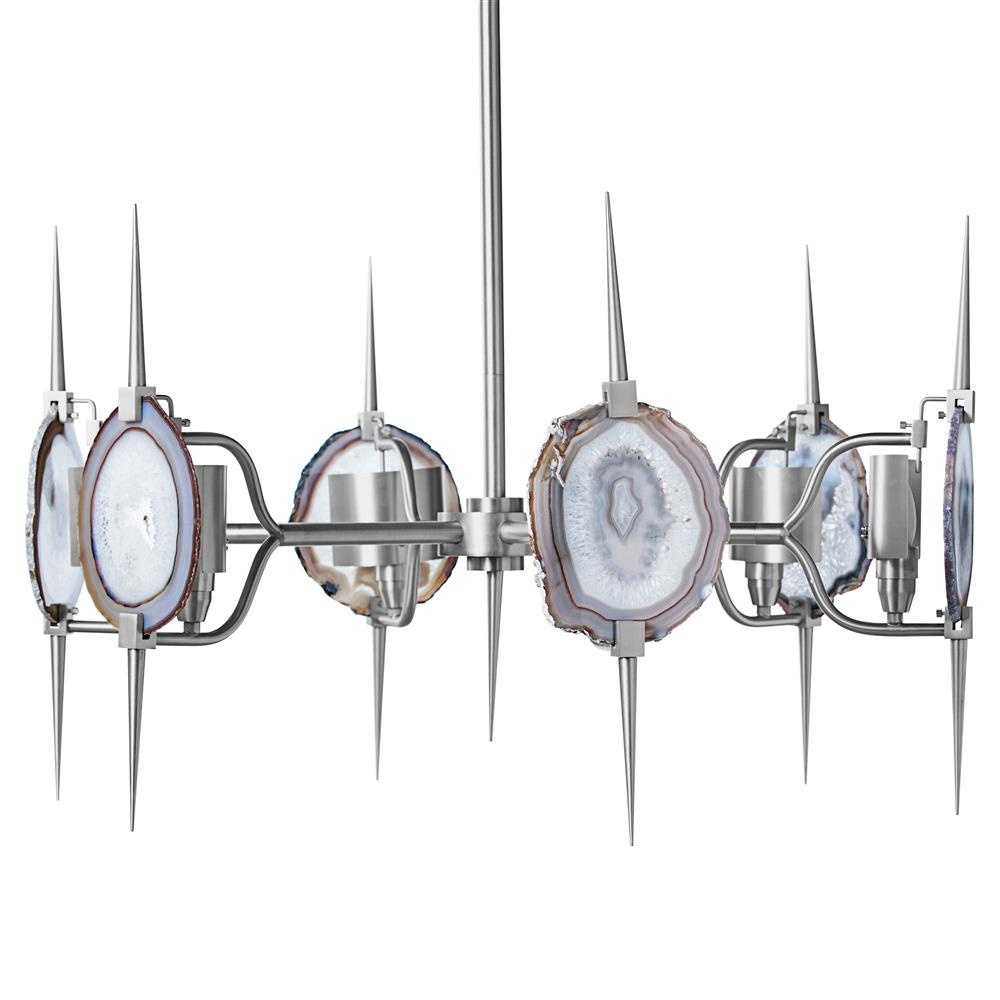 Eclipse satin nickel natural agate stone 6 light chandelier for Natural stone lighting