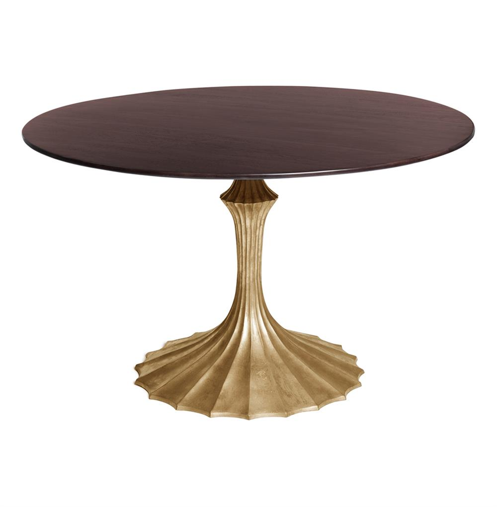 Dark Gold Fluted Base Hollywood Regency Dining Table