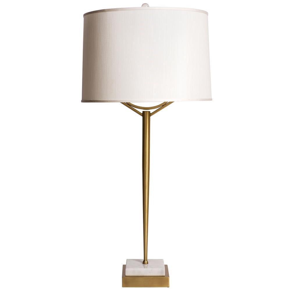 Triton Contemporary Elegant Brass Marble Table Lamp