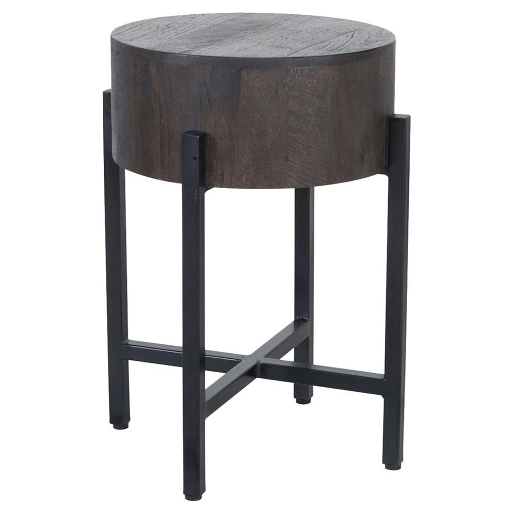 Jason Rustic Lodge Round Espresso Wood Black Iron Legs