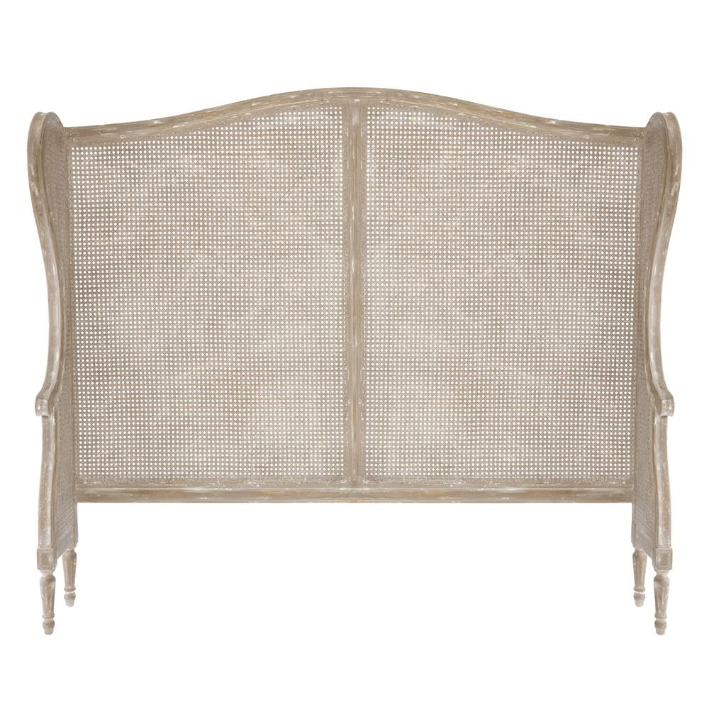 French Country White Wash Wing Back Caned Headboard Queen