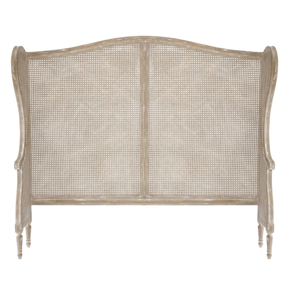 French Country White Wash Wing Back Caned Headboard King