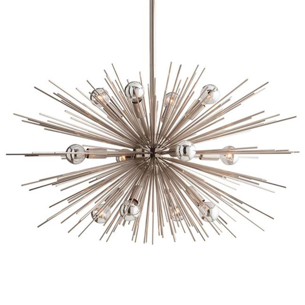 Sunburst polished nickel modern industrial sputnik for Sputnik chandelier
