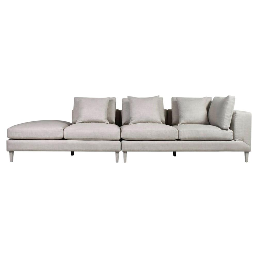 Oliver Modern Classic Beige Linen Sectional Sofa