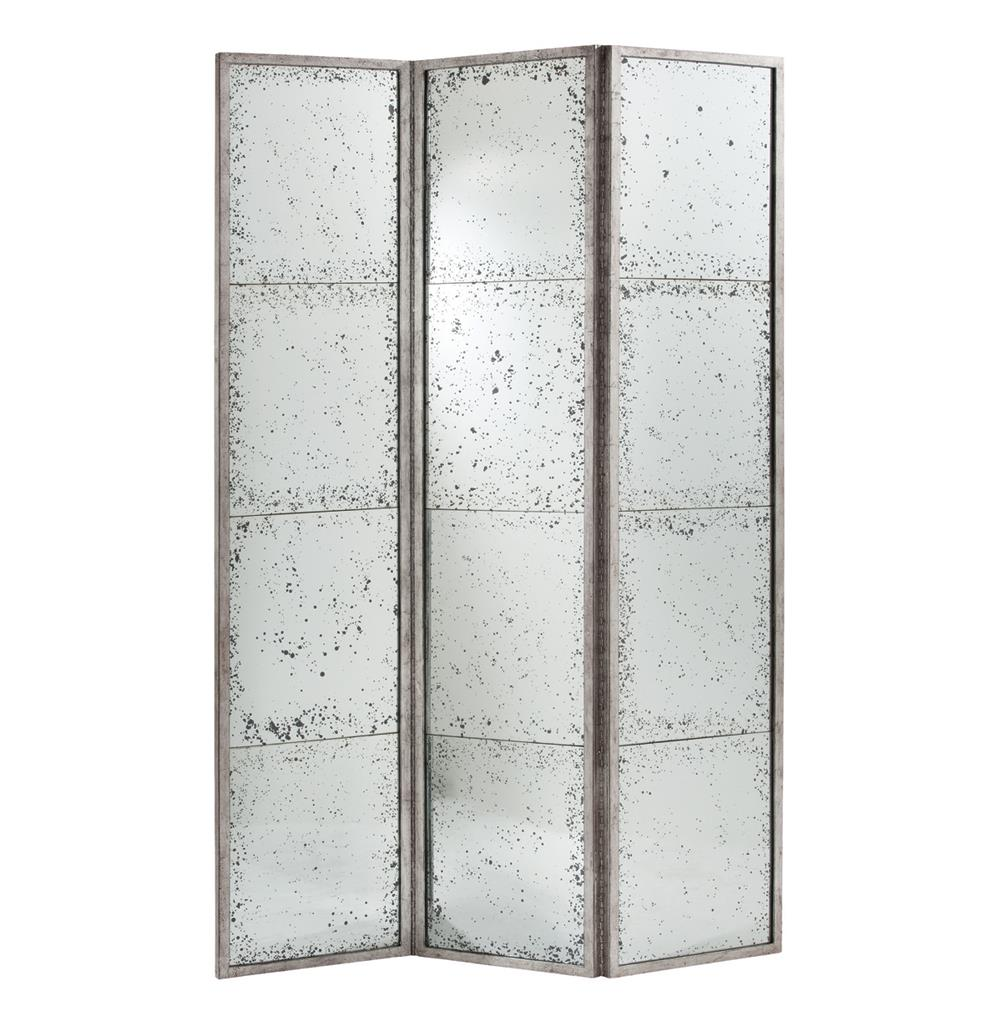 Annabelle antiqued hollywood regency silver mirrored room for Mirror screen