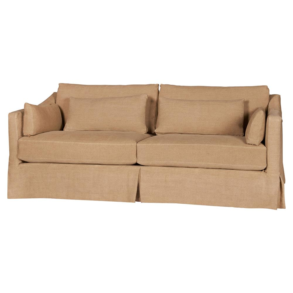 Cisco Brothers Rebecca Deluxe Modern Classic Brown Linen Slipcovered Sofa -  84 inch