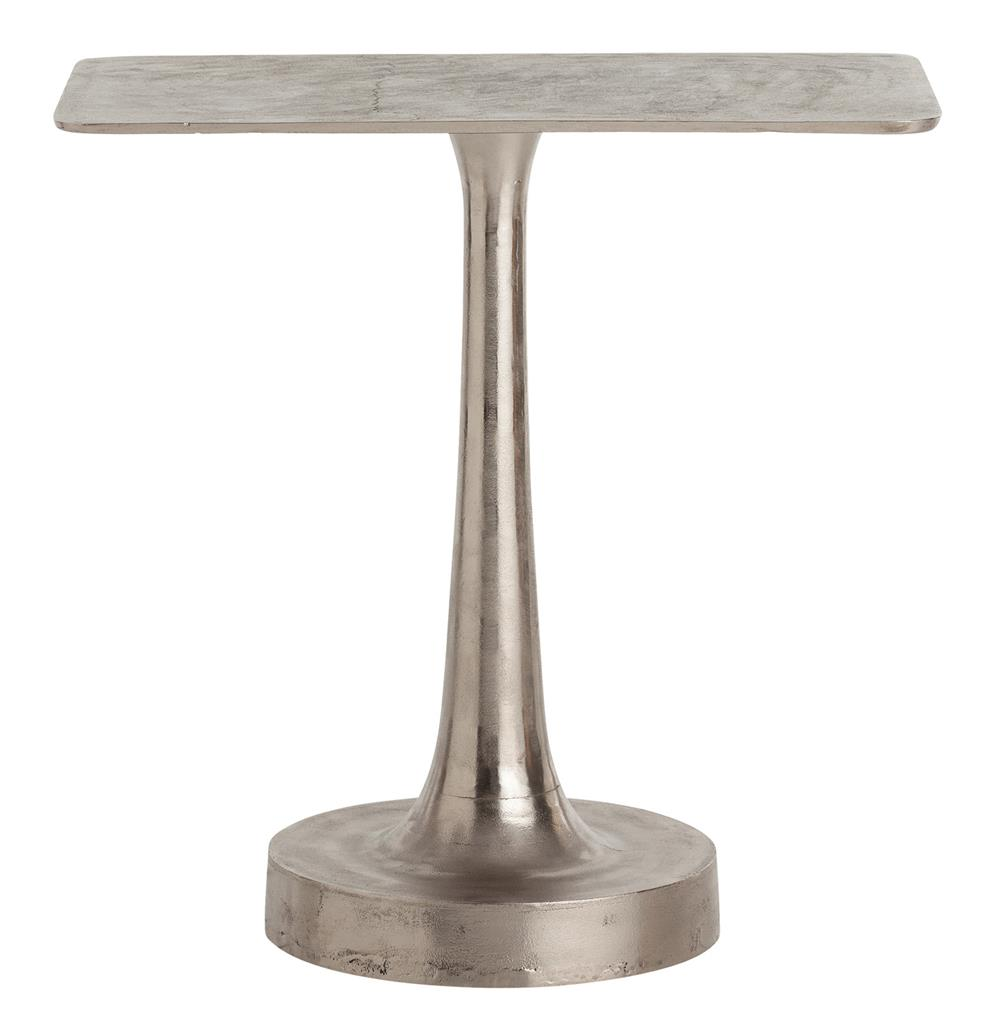 Bellamy polished distressed round base aluminum side table for Side table base