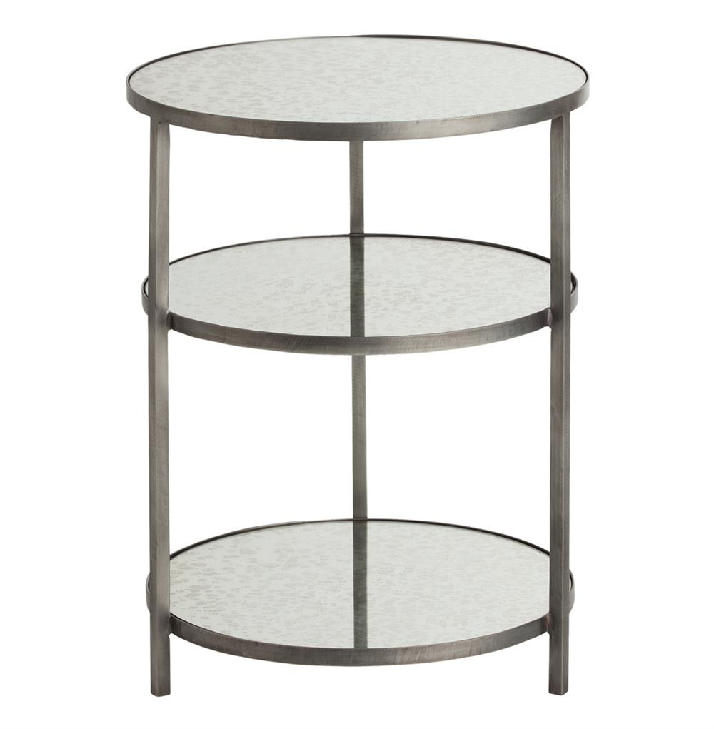 Percy Round 3 Tiered Contemporary Mirrored Zinc End Table