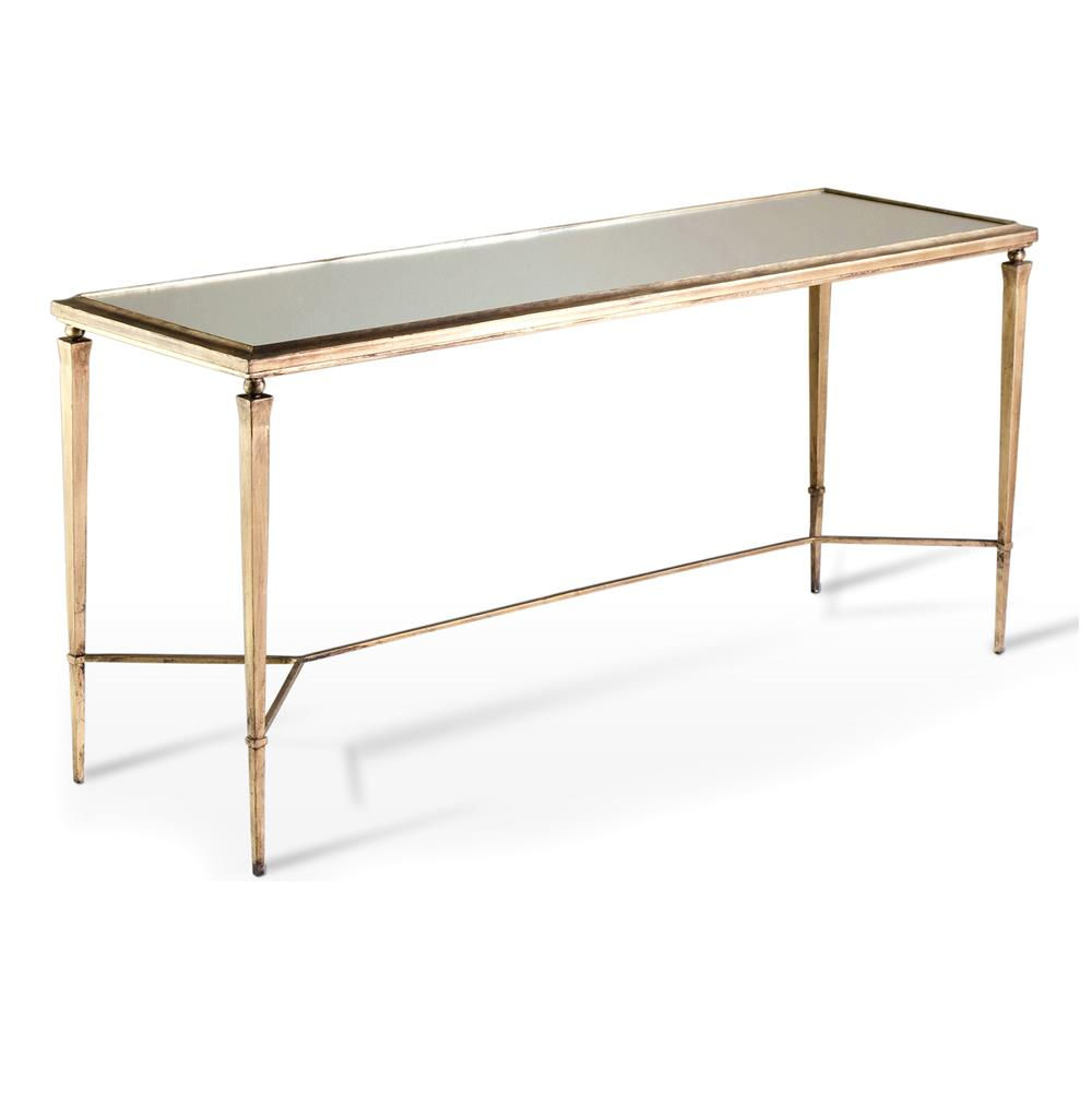 Alina antique gold mirror leaf elegant console table for Table console