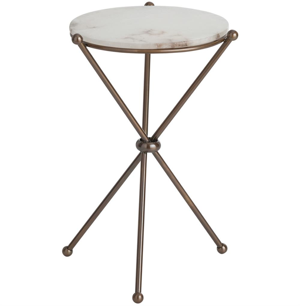 Chloe antique brass marble modern round accent side table Modern side table