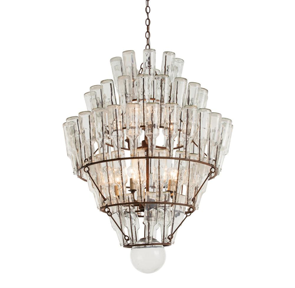 Canton rustic iron vintage glass bottle chandelier kathy for How to make a bottle chandelier