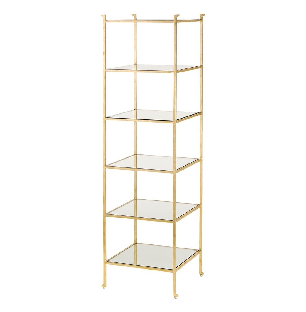 classic hollywood regency gold leaf narrow etagere display. Black Bedroom Furniture Sets. Home Design Ideas