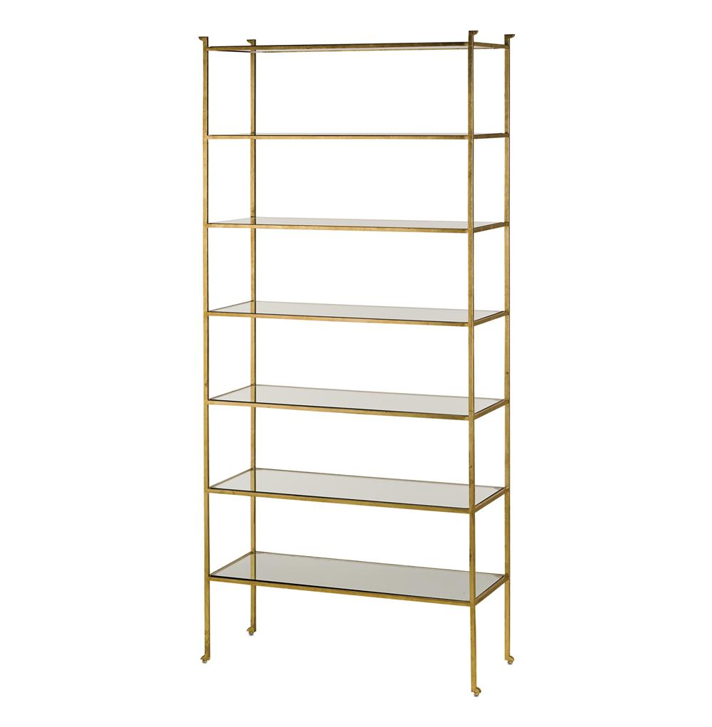 classic hollywood regency gold leaf tall etagere display shelf. Black Bedroom Furniture Sets. Home Design Ideas