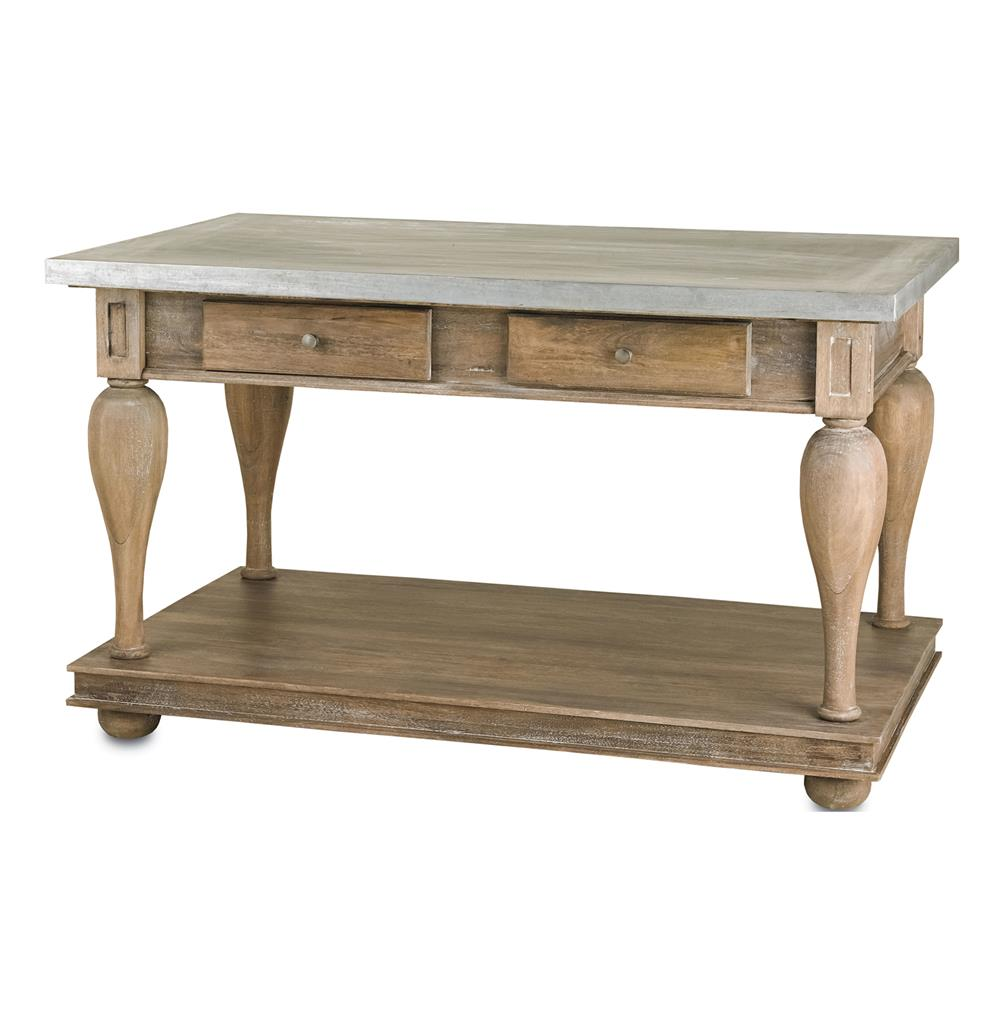 French Country Balustrade Antique Walnut Kitchen Island Console Table  S |  Kathy Kuo Home