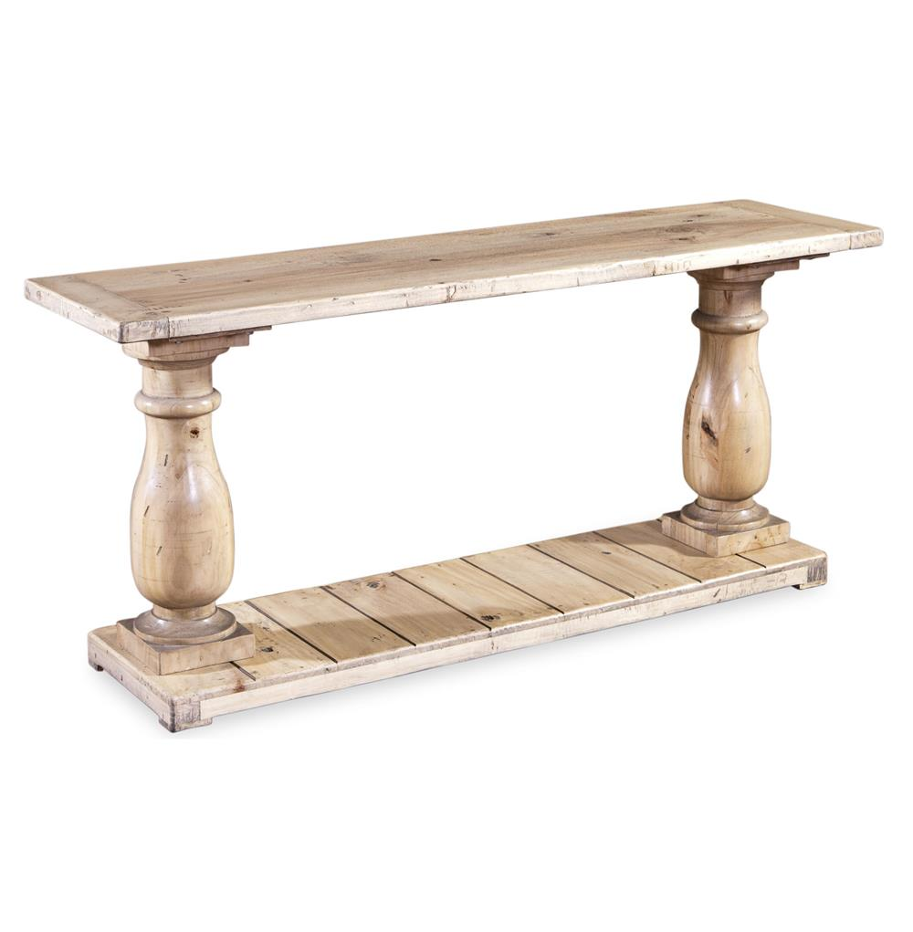 Ludlum reclaimed wood rustic light pine console table kathy kuo home Console coffee table