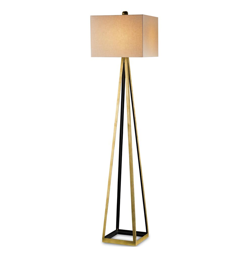 Hollywood Regency Gold Leaf Satin Floor Lamp Kathy Kuo Home