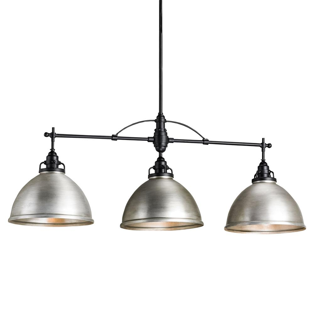 industrial loft 3 light brushed nickel cone island pendant light