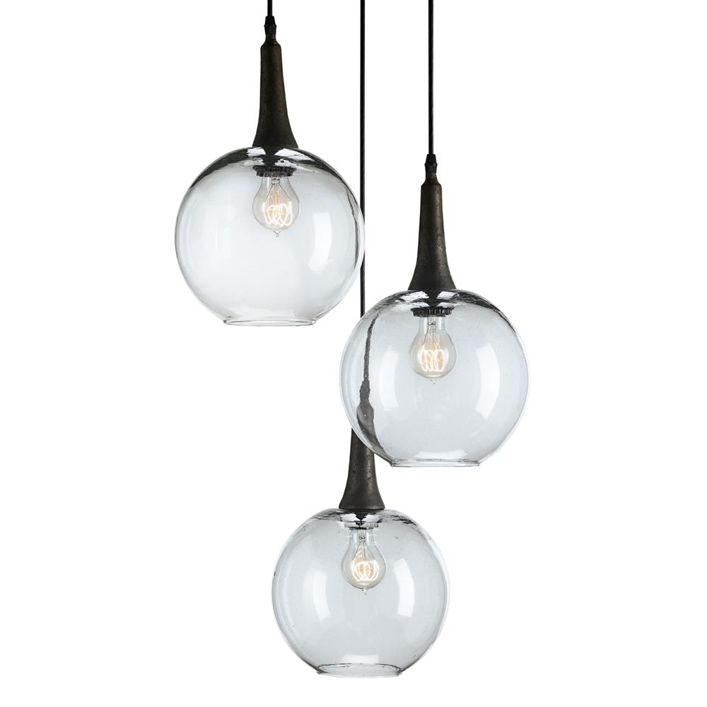 Hanging Light Round: Emery Modern Trio Adjustable Round Glass Pendant Light