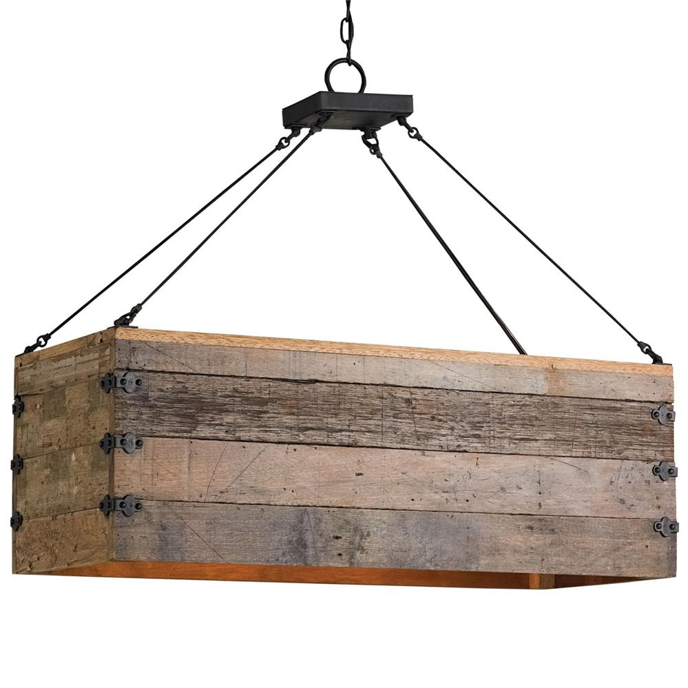 Natural Rustic Lodge Rectangular Wood Cart 3 Light Island Pendant Kathy Kuo