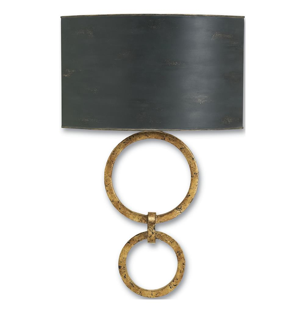 Infinity Double Circle Contemporary Gold Leaf Wall Sconce Kathy Kuo Home