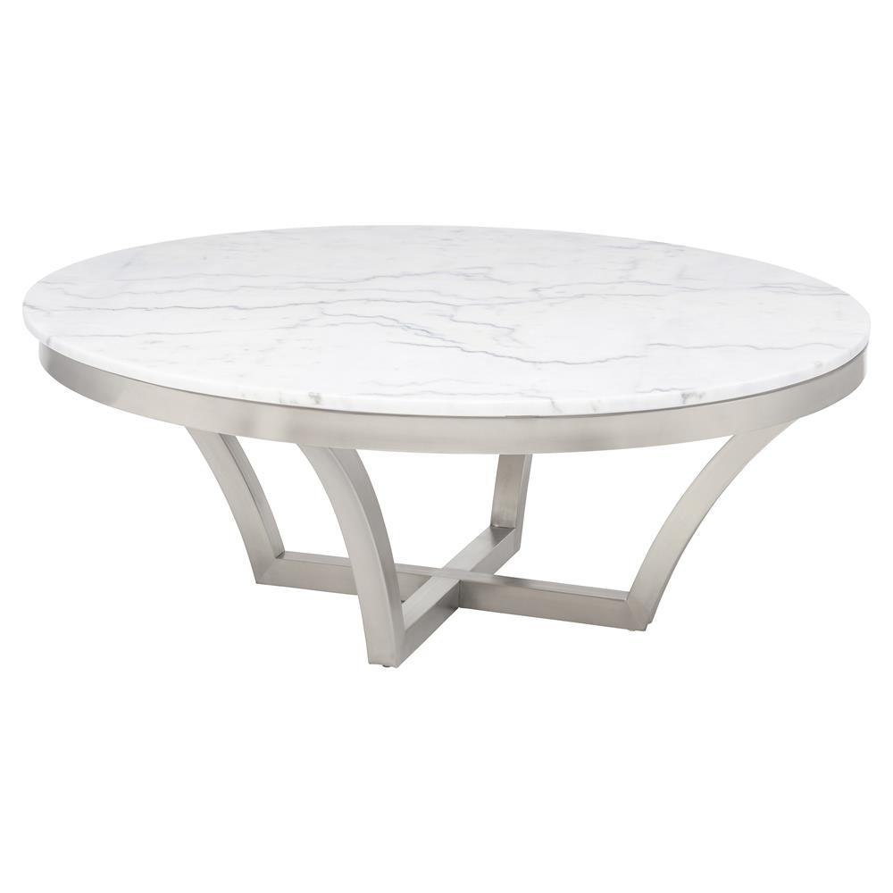 Amelia Hollywood Regency Round White Marble Top Silver ...