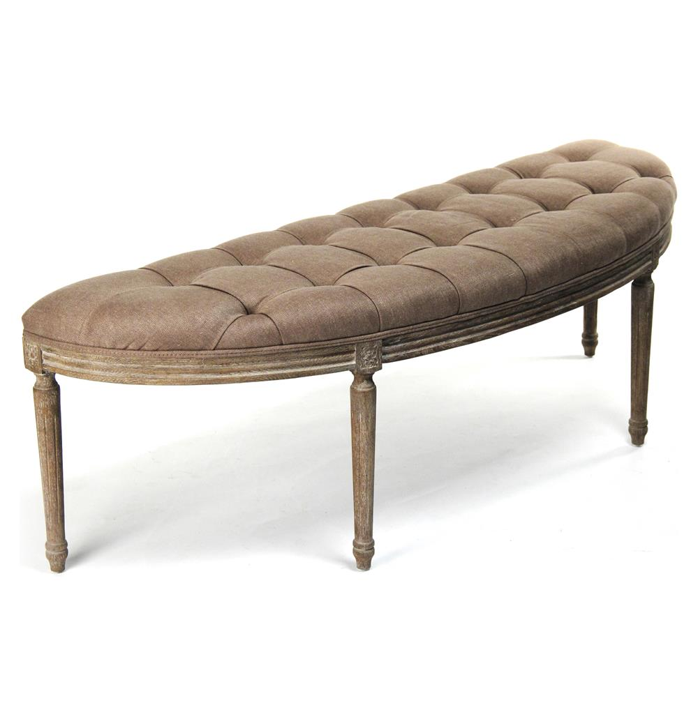 French Country Louis Xvi Copper Linen Vanity Hallway Bench