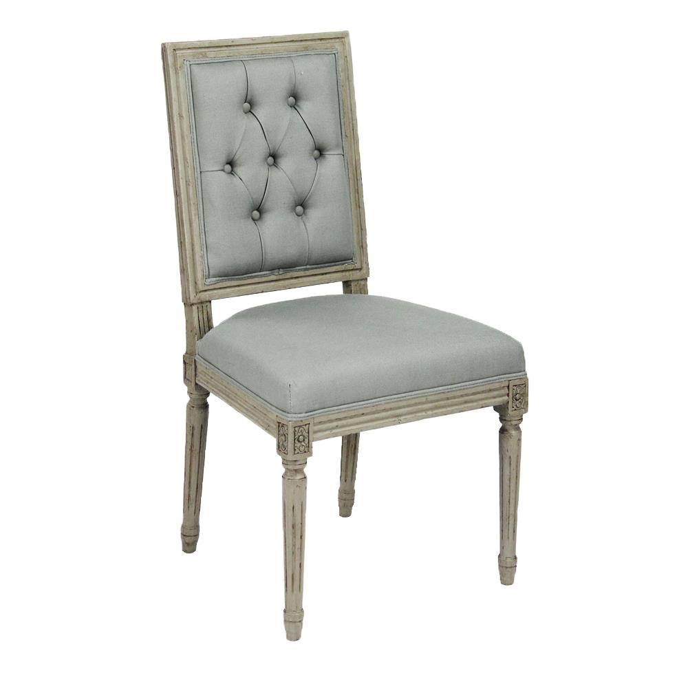 Pair French Country Louis XVI Sage Green Tufted Linen Dining Chair ...