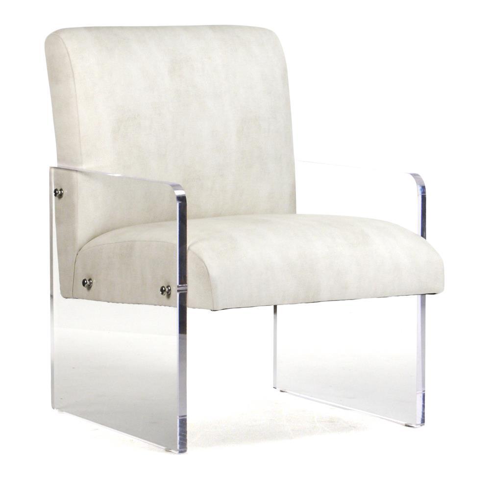 Modern Art Deco Ivory Faux Leather Acrylic Arm Chair