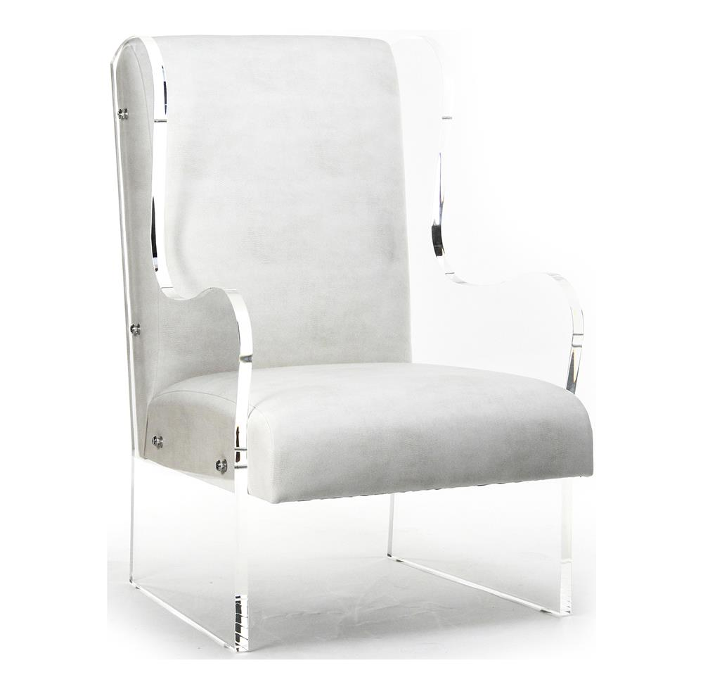 Modern Art Deco Ivory Faux Leather Acrylic Wing Back Accent Chair | Kathy  Kuo Home ...