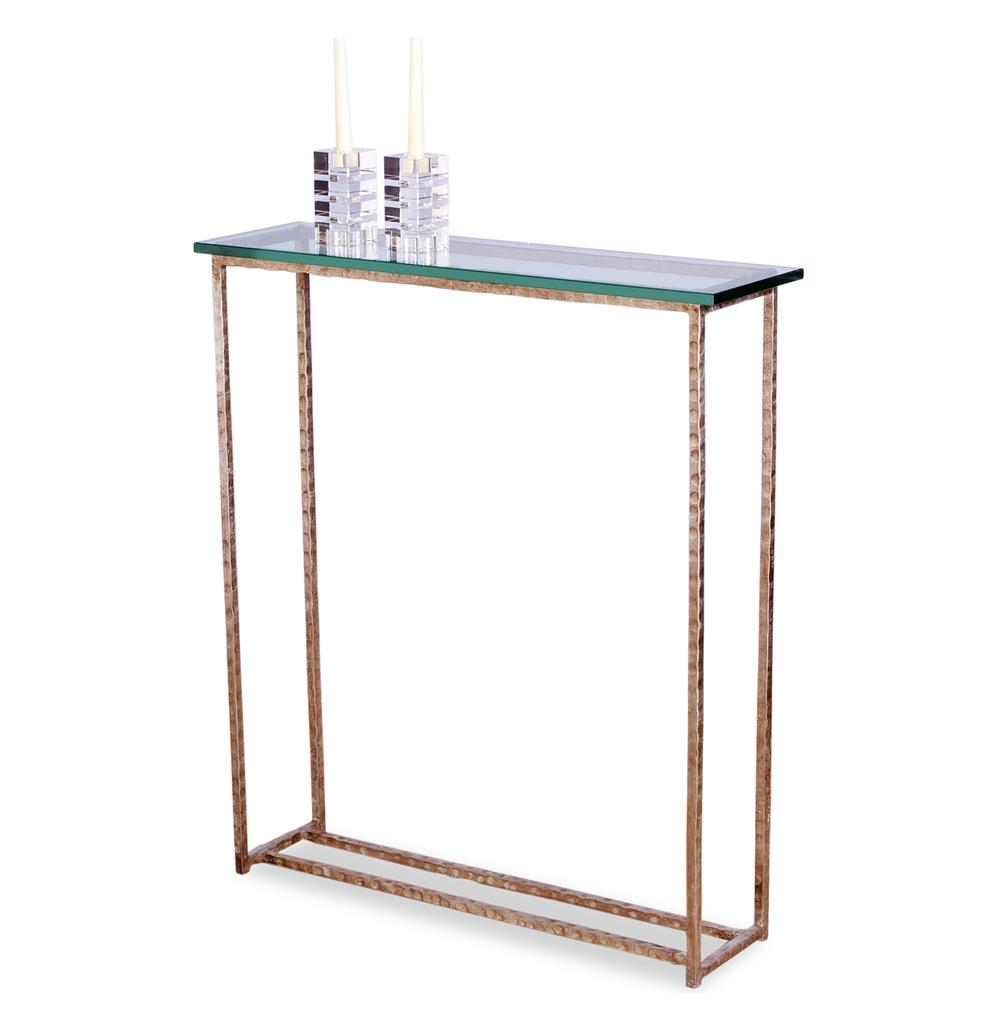 Edland modern silver leaf glass console sofa table kathy for Sofa table modern