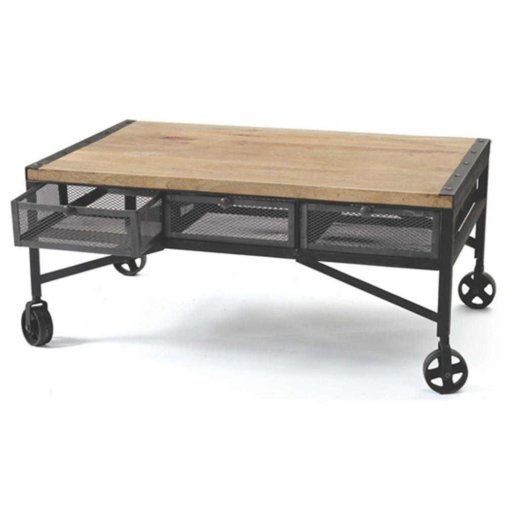 Vintage industrial loft rolling steel wood coffee table - Table basse metal industriel loft ...
