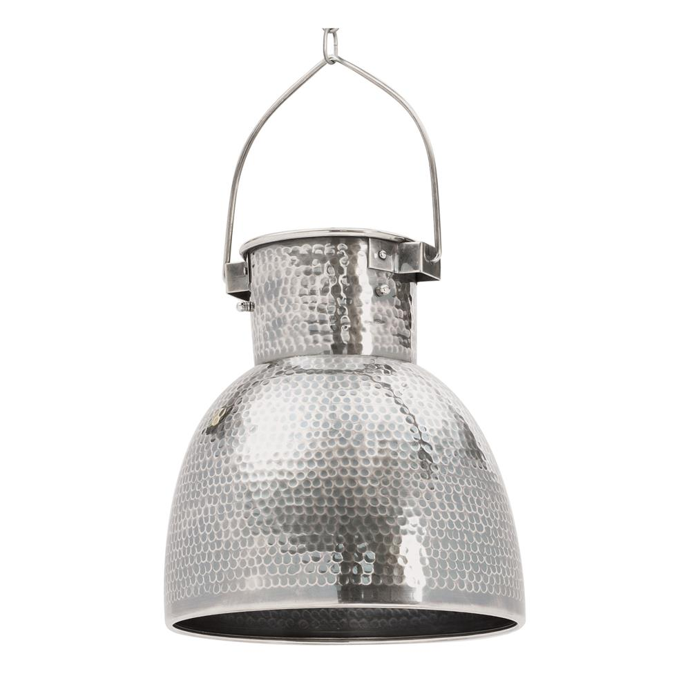 Rustic Lodge Hammered Antiqued Silver Pocked Pendant Light