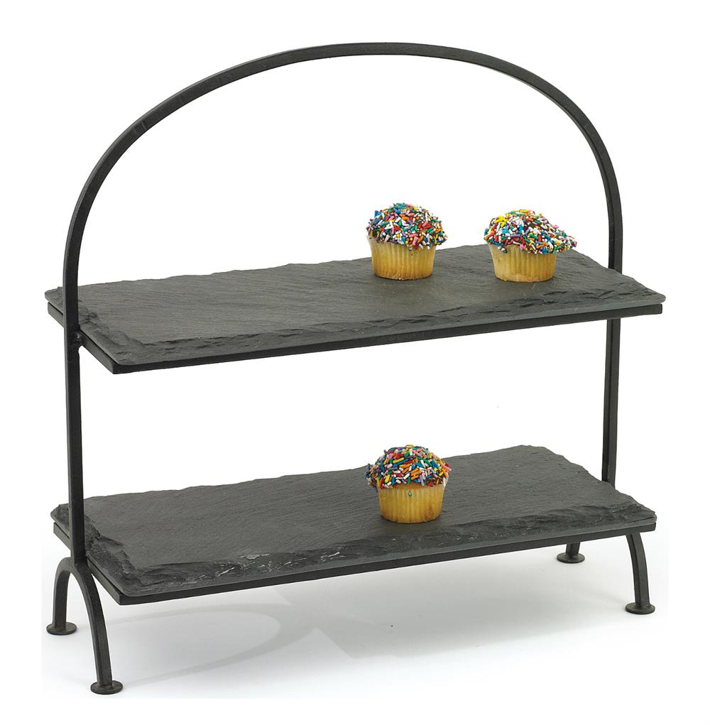 Rustic Lodge Slate Tiered Serving Tray Kathy Kuo Home