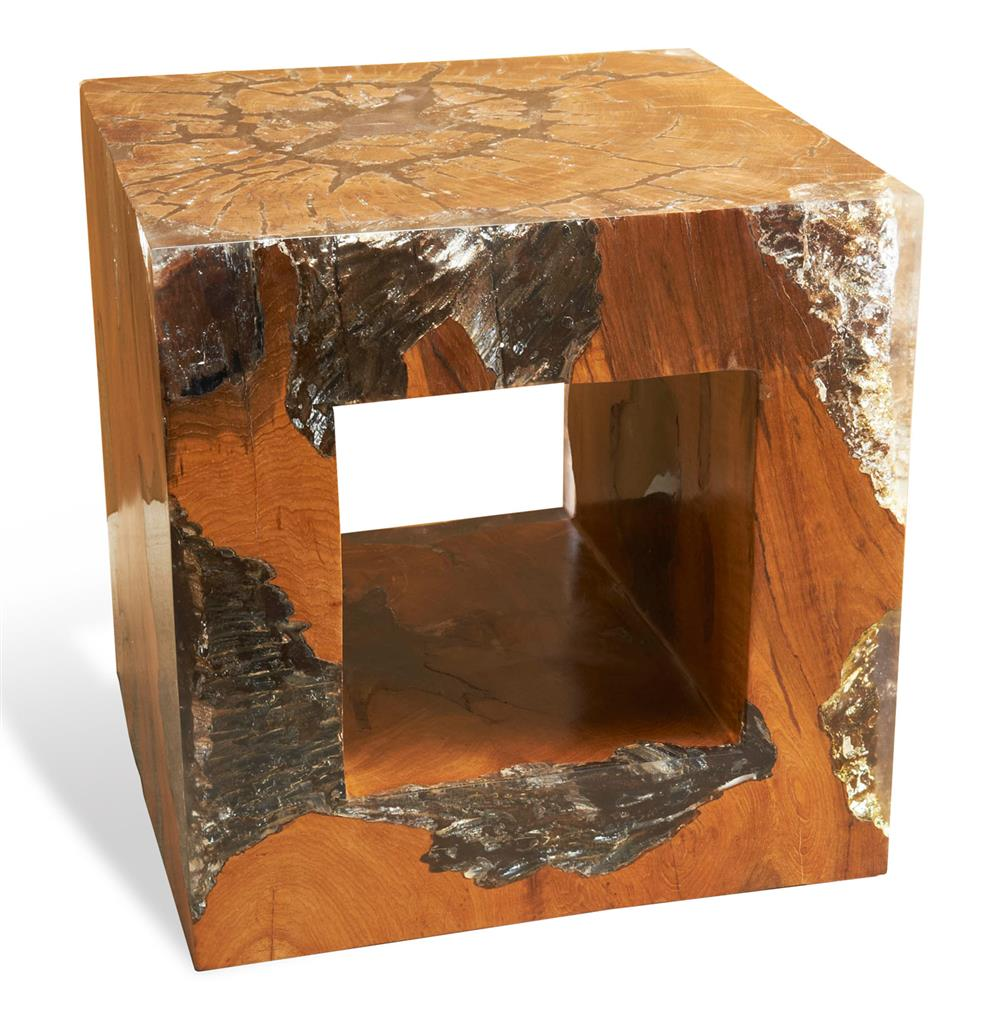 macarans modern rustic chunky teak wood cube side table. Black Bedroom Furniture Sets. Home Design Ideas