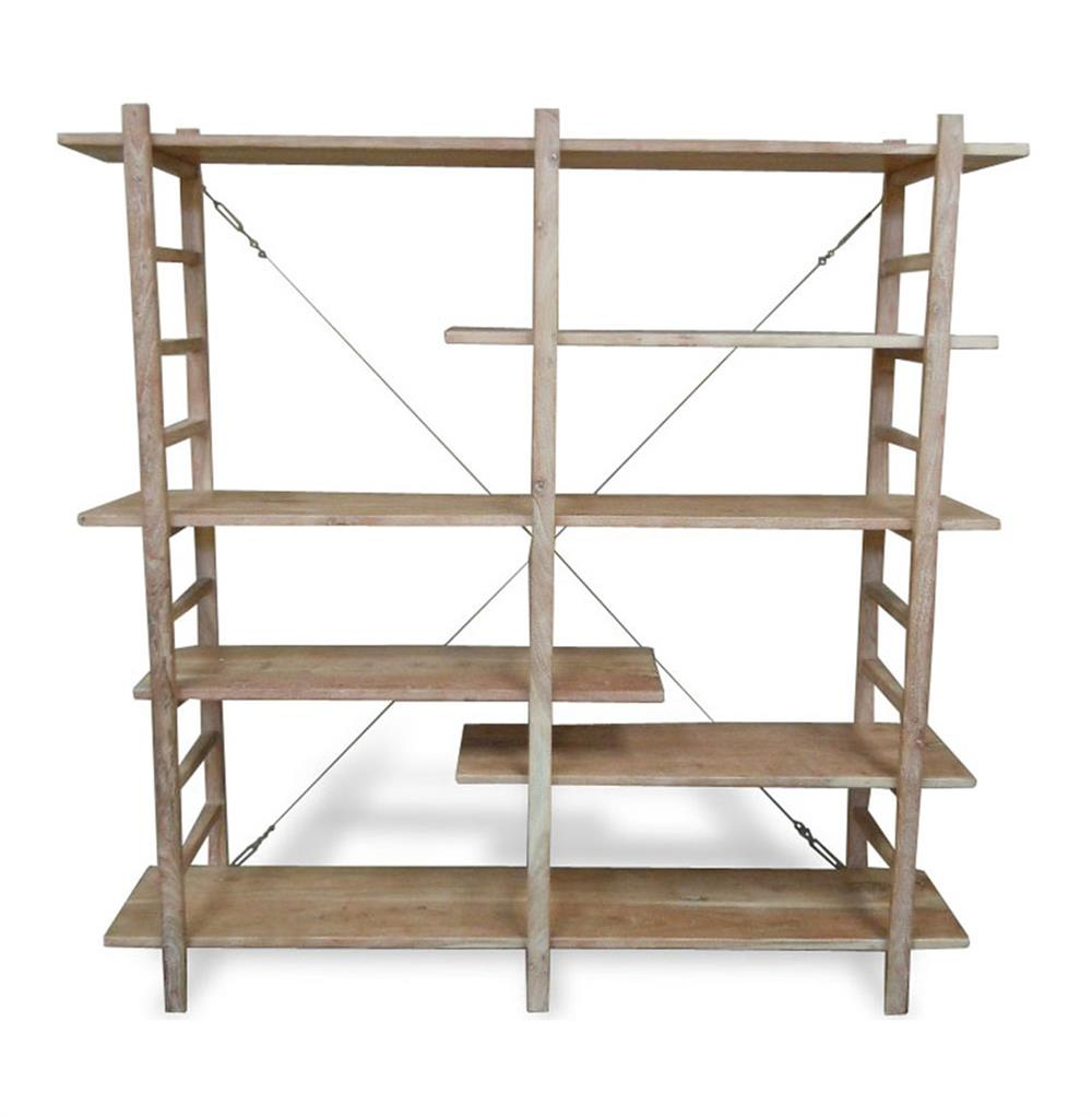 Elba Distressed White Washed Wood Display Bookcase