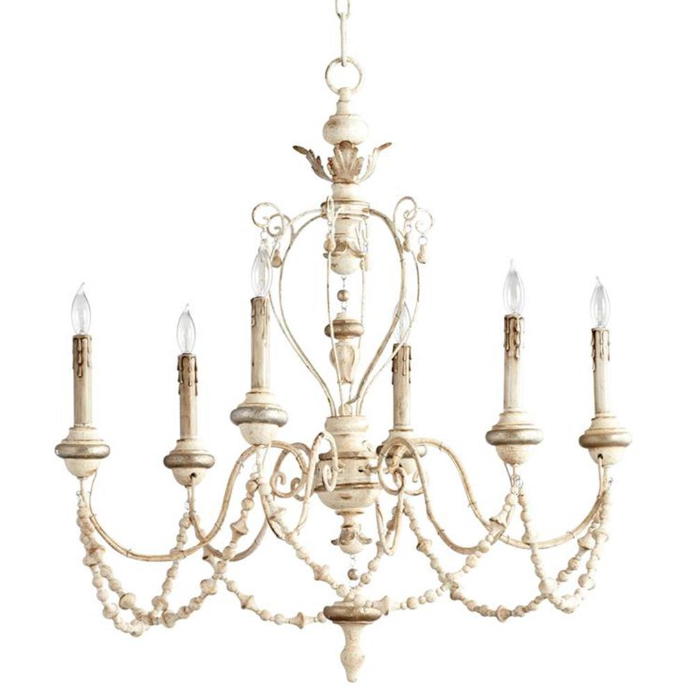 Florent White Washed French Country Beaded Swag 6 Light