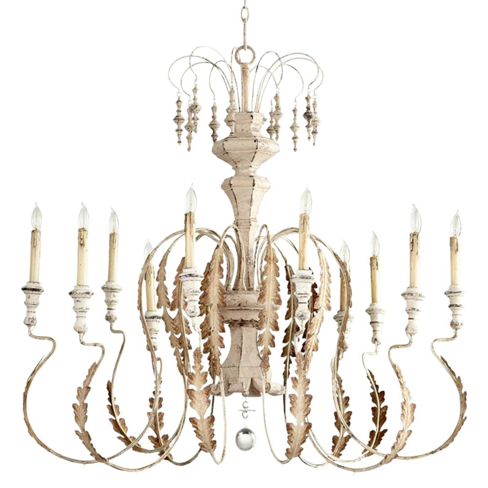 Marion french country white washed 10 light chandelier French country chandelier