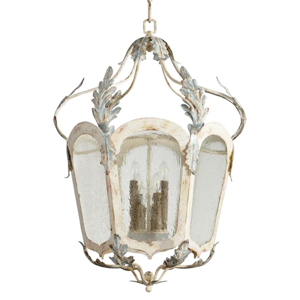 Chantilly French Country Parisian Blue White 6 Light Lantern Pendant