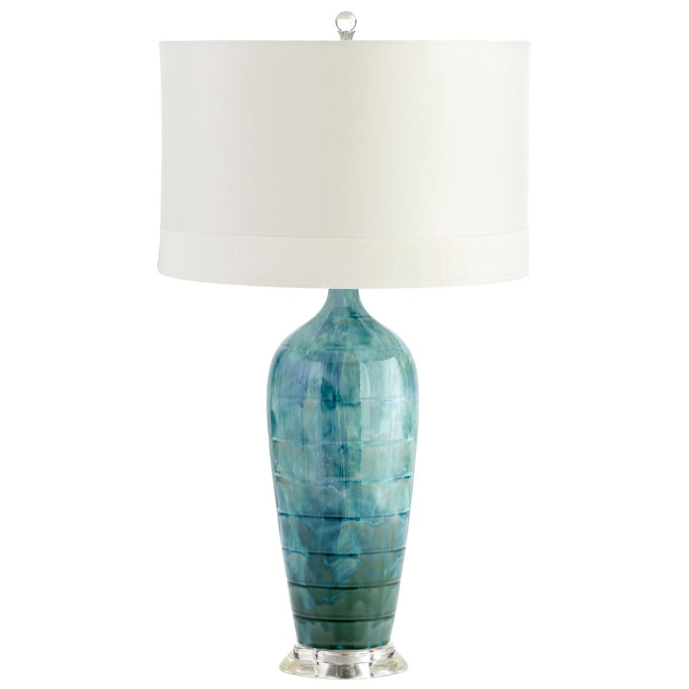 Perugia Coastal Beach Aqua Blue Green Ceramic Glazed Lamp | Kathy Kuo Home