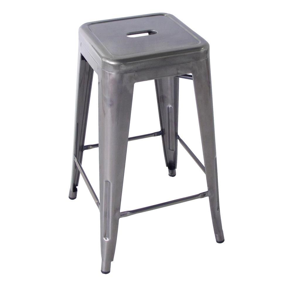 Bouchon French Industrial Steel Backless Cafe Counter Stool - Set of 4 | Kathy Kuo Home