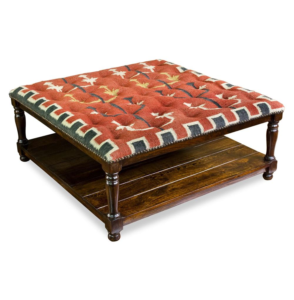 Mtn Ray Red Rustic Wood And Kilim Large 40 Quot Square Cocktail Ottoman Kathy Kuo Home