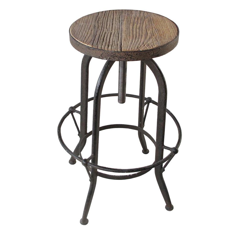 Industrial Wood Adjustable Seat Barstool High Chair: Elemental Reclaimed Wood Industrial Adjustable Counter Bar