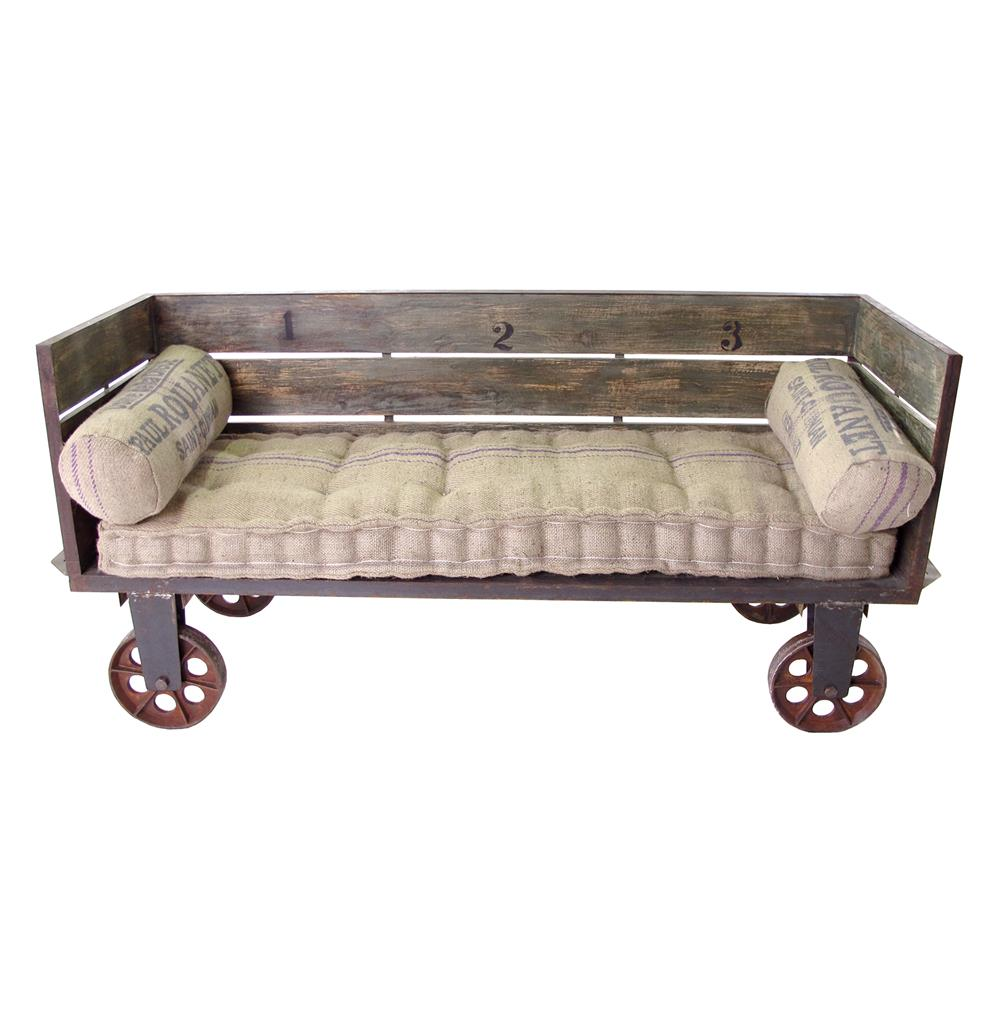 Limoges french industrial large sofa cart kathy kuo home for Sofa industrial