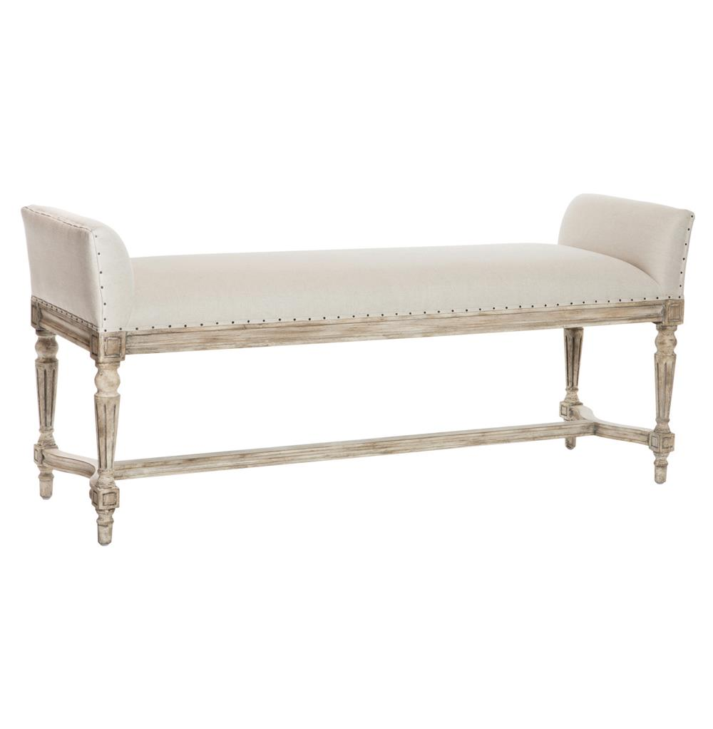 Christo french country barnwood grey long bench kathy kuo home
