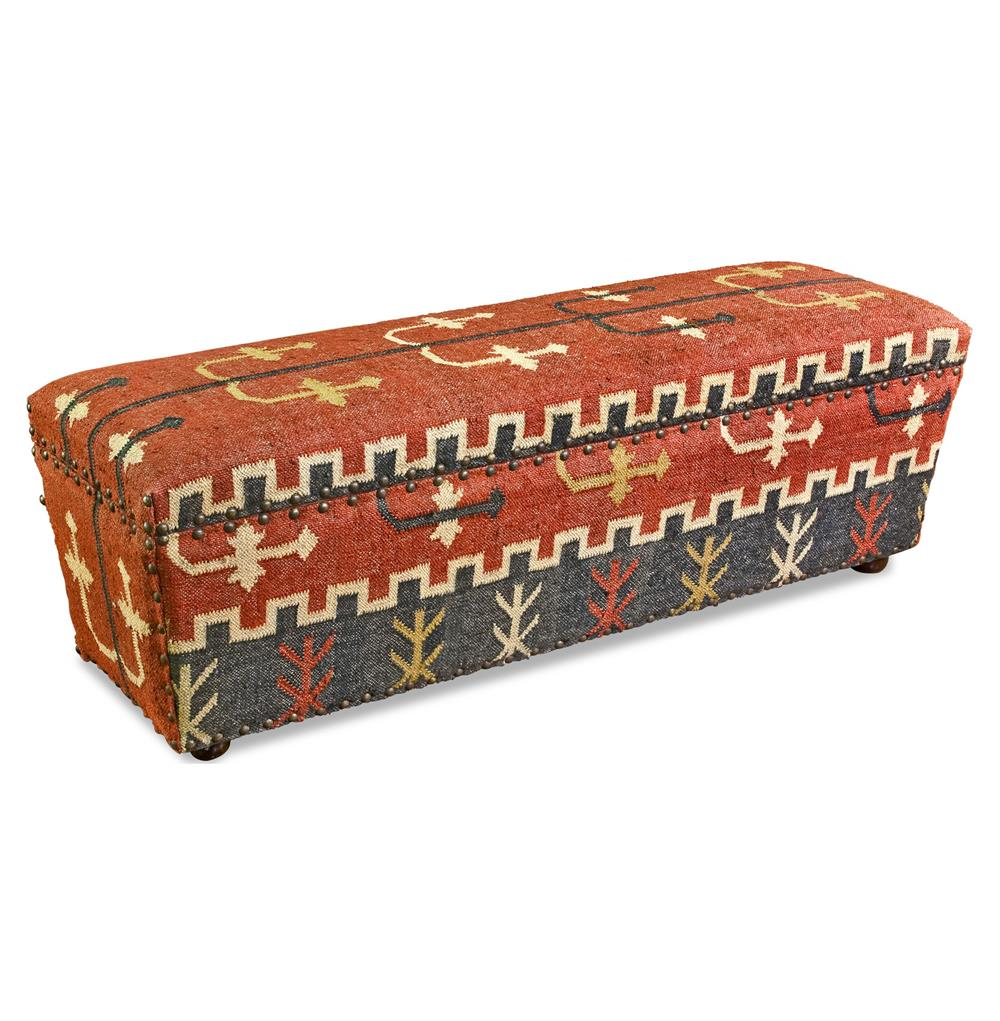 Mtn Ray Solid Wood And Kilim Rustic Storage Bench Kathy Kuo Home