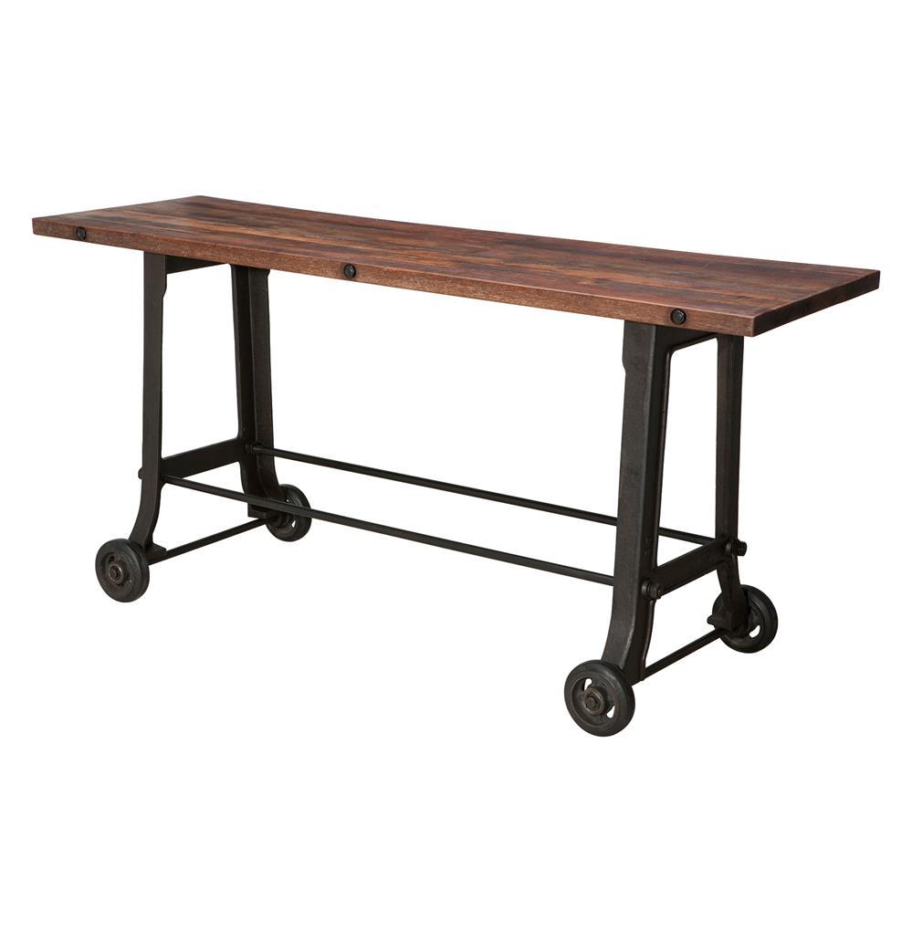 Brooklyn industrial reclaimed wood cast iron console bar table brooklyn industrial reclaimed wood cast iron console bar table kathy kuo home geotapseo Choice Image